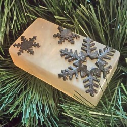 Silver soap with Black Snowflakes