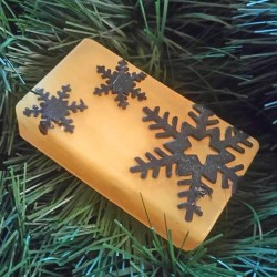 Gold soap with Black Snowflakes